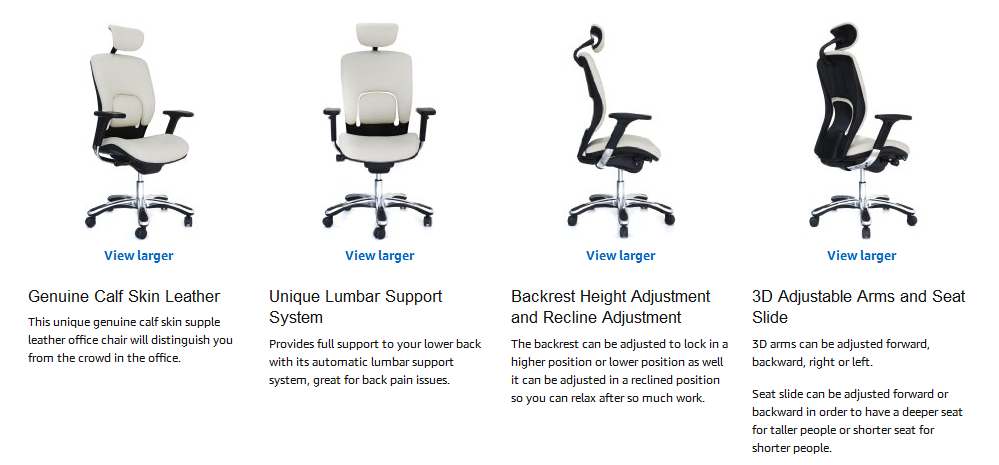 Highly Adjustable High Back Office Chair With Headrest